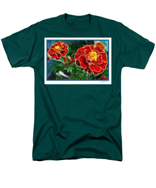 Men's T-Shirt  (Regular Fit) featuring the photograph Red Flower In Autumn by Joan  Minchak