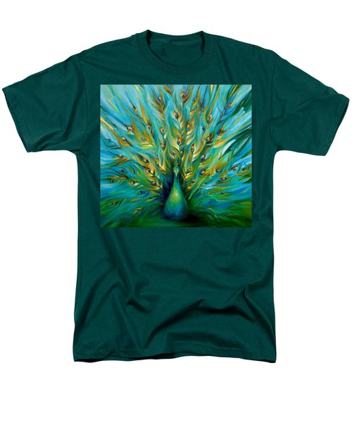 Men's T-Shirt  (Regular Fit) featuring the painting Regal Peacock by Dina Dargo