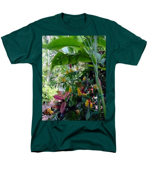 Men's T-Shirt  (Regular Fit) featuring the painting Secret Garden Cat by David  Van Hulst