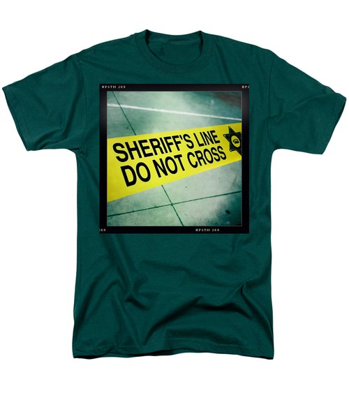 Men's T-Shirt  (Regular Fit) featuring the photograph Sheriff's Line - Do Not Cross by Nina Prommer