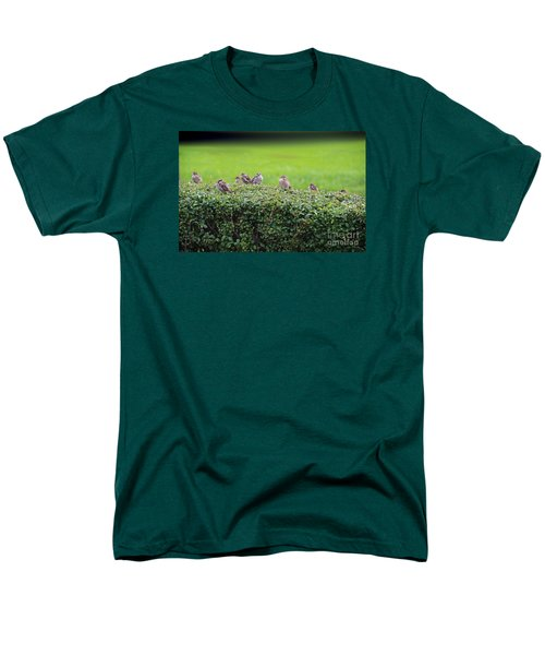 Men's T-Shirt  (Regular Fit) featuring the photograph Sparrows Gathering Place  by Yumi Johnson
