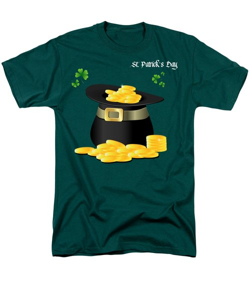 St. Patrick's Day Gold Coins In Hat Men's T-Shirt  (Regular Fit) by Serena King