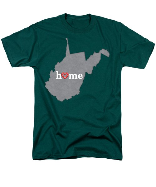 State Map Outline West Virginia With Heart In Home Men's T-Shirt  (Regular Fit)