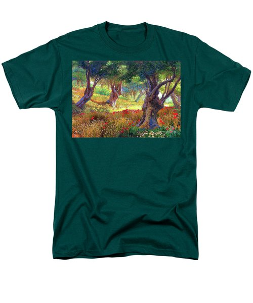 Men's T-Shirt  (Regular Fit) featuring the painting Tranquil Grove Of Poppies And Olive Trees by Jane Small