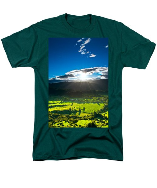 Sunrays Flood Farmland During Sunset Men's T-Shirt  (Regular Fit) by Ulrich Schade
