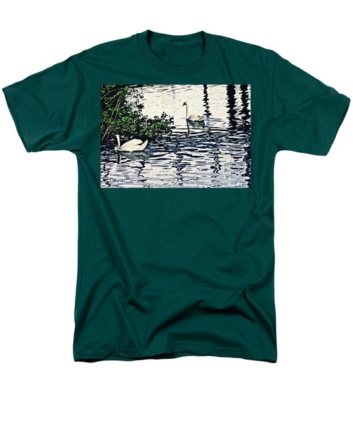 Men's T-Shirt  (Regular Fit) featuring the photograph Swan Family On The Rhine 3 by Sarah Loft