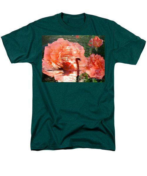 Swan In Lake With Orange Flowers Men's T-Shirt  (Regular Fit) by Annie Zeno