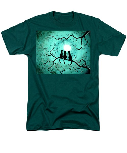Three Black Cats Under A Full Moon Men's T-Shirt  (Regular Fit) by Laura Iverson