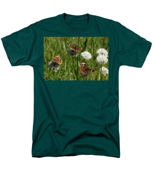 Three Buckeye Butterflies On Wildflowers Men's T-Shirt  (Regular Fit) by Sheila Brown