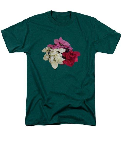 Tricolor Poinsettias Transparent Background   Men's T-Shirt  (Regular Fit)