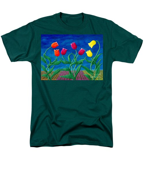Men's T-Shirt  (Regular Fit) featuring the painting Tulip Tango by Rebecca Parker