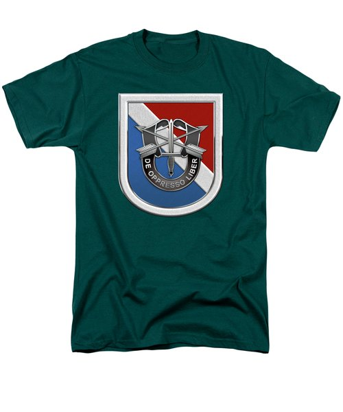 U. S.  Army 11th Special Forces Group - 11 S F G  Beret Flash Over Green Beret Felt Men's T-Shirt  (Regular Fit) by Serge Averbukh