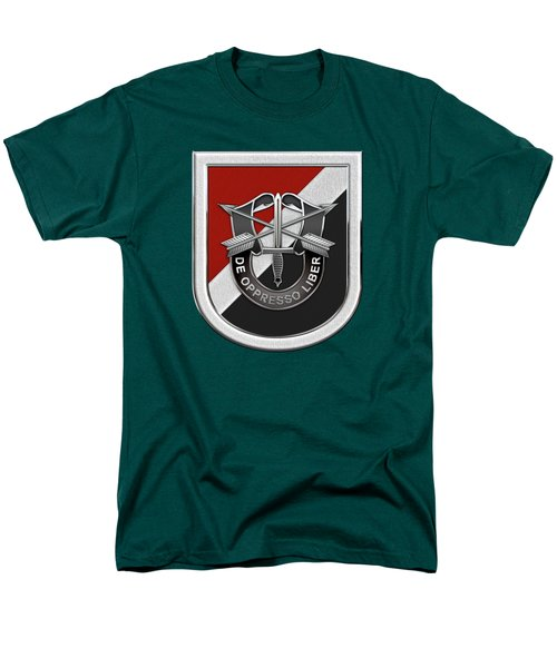 U. S.  Army 6th Special Forces Group - 6th S F G  Beret Flash Over Green Beret Felt Men's T-Shirt  (Regular Fit) by Serge Averbukh