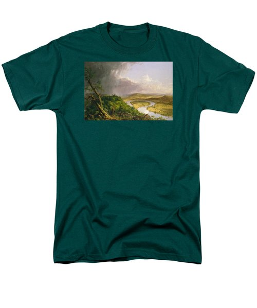 Men's T-Shirt  (Regular Fit) featuring the painting View From Mount Holyoke Northampton Massachusetts After A Thunderstorm. The Oxbow by Thomas Cole