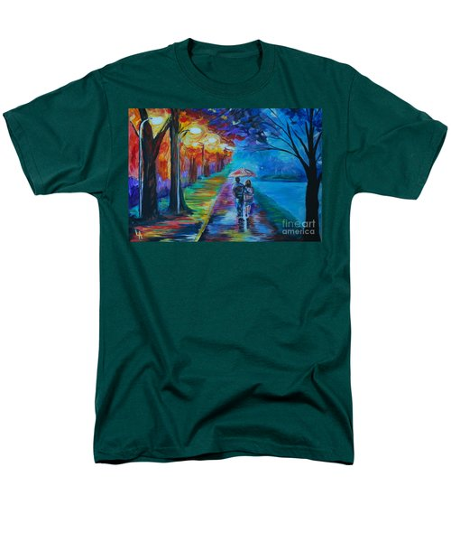 Men's T-Shirt  (Regular Fit) featuring the painting Walk By The Lake  by Leslie Allen