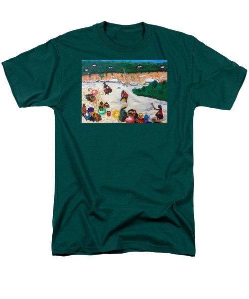 Washing Clothes By The Riverside In Haiti Men's T-Shirt  (Regular Fit) by Nicole Jean-Louis