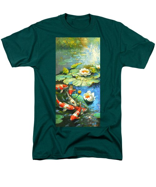 Men's T-Shirt  (Regular Fit) featuring the painting Water Lily Or Solar Pond      by Dmitry Spiros