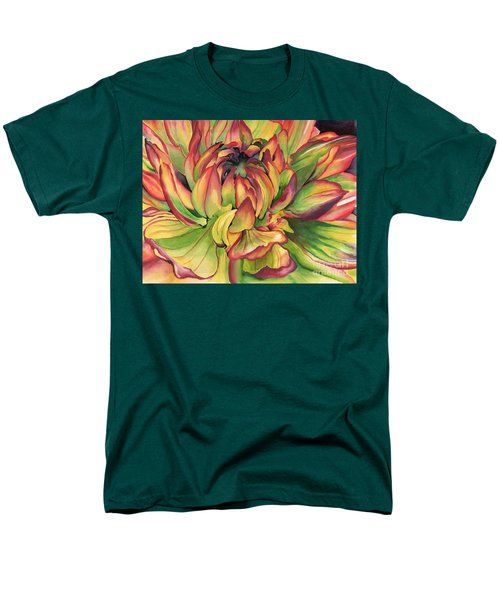 Watercolor Dahlia Men's T-Shirt  (Regular Fit) by Angela Armano