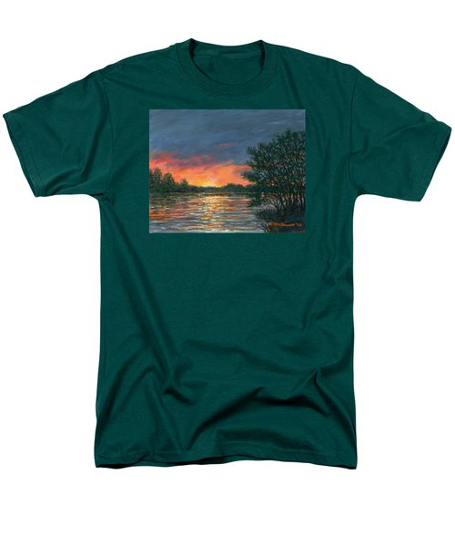 Men's T-Shirt  (Regular Fit) featuring the painting Waterway Sundown by Kathleen McDermott