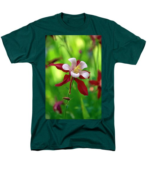 White And Red Columbine  Men's T-Shirt  (Regular Fit) by James Steele