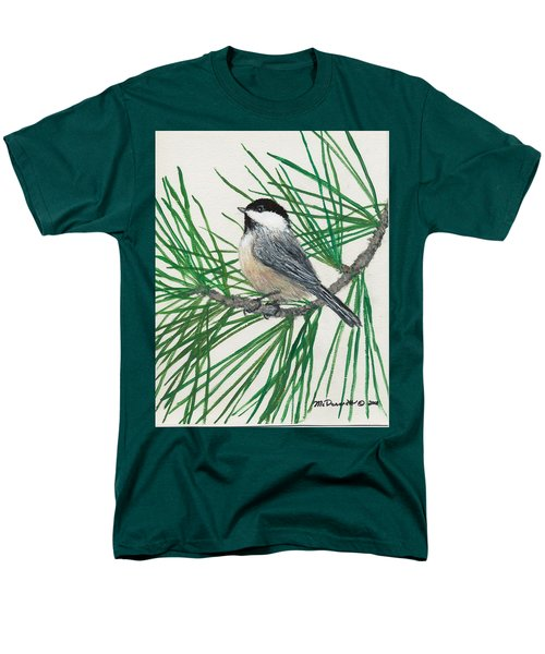 Men's T-Shirt  (Regular Fit) featuring the painting White Pine Chickadee by Kathleen McDermott