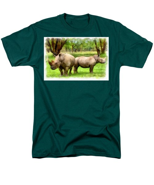 Men's T-Shirt  (Regular Fit) featuring the painting White Rhinos by Maciek Froncisz
