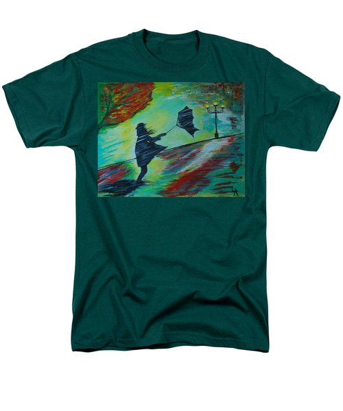 Men's T-Shirt  (Regular Fit) featuring the painting Windy Escapade by Leslie Allen