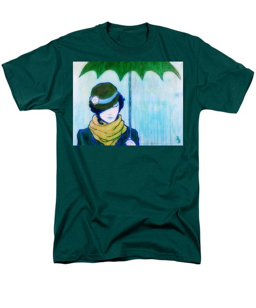 Woman With Green Umbrella Men's T-Shirt  (Regular Fit) by Bob Baker
