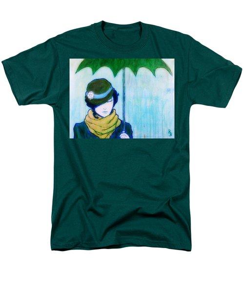 Woman With Green Umbrella Men's T-Shirt  (Regular Fit)