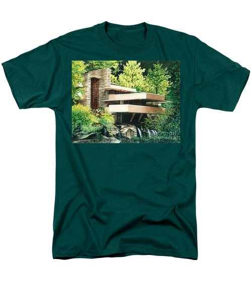 Men's T-Shirt  (Regular Fit) featuring the painting Fallingwater-a Woodland Retreat By Frank Lloyd Wright by Barbara Jewell
