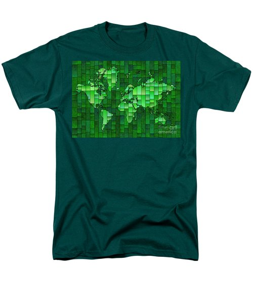 World Map Glasa Green Men's T-Shirt  (Regular Fit) by Eleven Corners