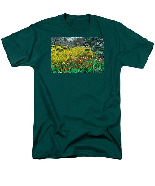 Men's T-Shirt  (Regular Fit) featuring the photograph Yellow Forsythia by Diana Mary Sharpton