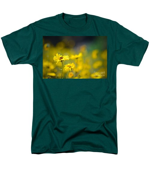 Yellow Wild Flowers Men's T-Shirt  (Regular Fit) by Kelly Wade