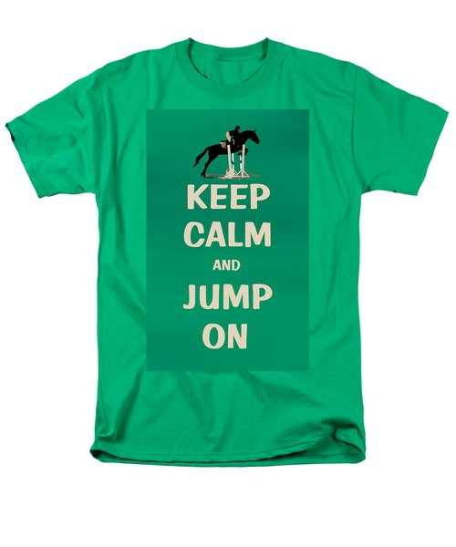 Keep Calm And Jump On Horse Men's T-Shirt  (Regular Fit) by Patricia Barmatz