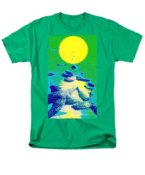 Men's T-Shirt  (Regular Fit) featuring the painting Blue Starfish Yellow Moon by PainterArtist FIN