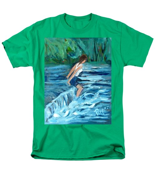 Men's T-Shirt  (Regular Fit) featuring the painting Girl Bathing In River Rapids by Betty Pieper