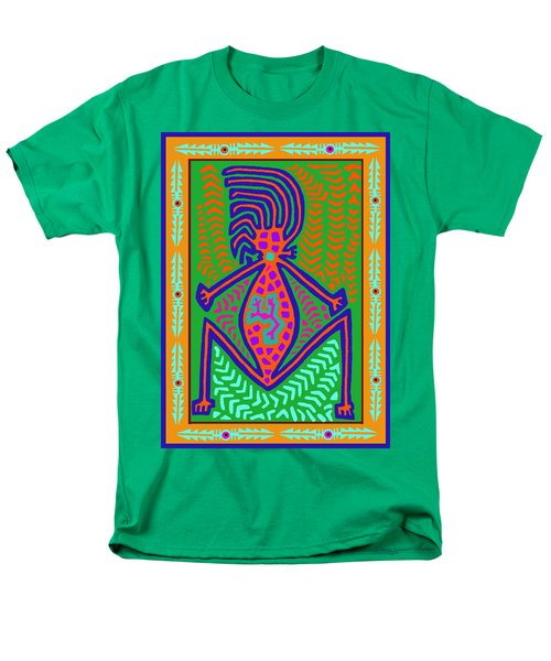 Men's T-Shirt  (Regular Fit) featuring the digital art Kuna Indian Mother Earth by Vagabond Folk Art - Virginia Vivier