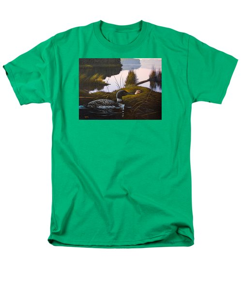 Men's T-Shirt  (Regular Fit) featuring the painting Loon Lake by Richard Faulkner