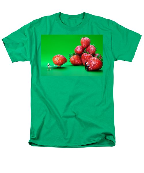 Men's T-Shirt  (Regular Fit) featuring the photograph Moving Strawberries To Depict Friction Food Physics by Paul Ge