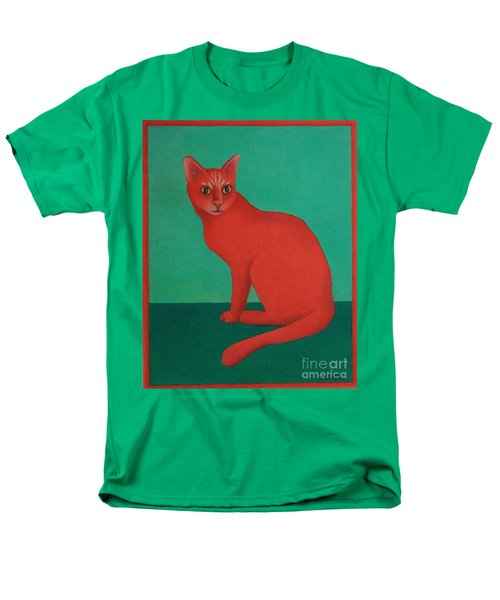 Men's T-Shirt  (Regular Fit) featuring the painting Red Cat by Pamela Clements
