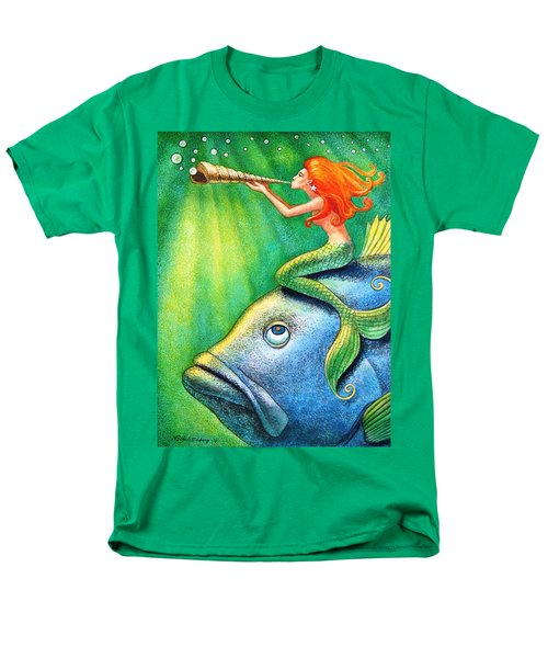 Toot Your Own Seashell Mermaid Men's T-Shirt  (Regular Fit) by Sue Halstenberg