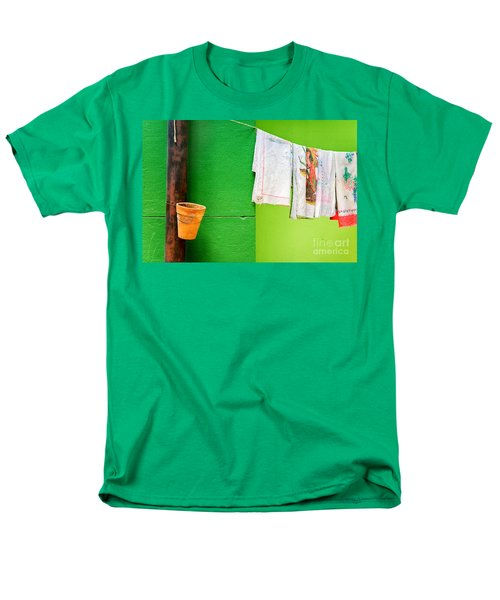Men's T-Shirt  (Regular Fit) featuring the photograph Vase Towels And Green Wall by Silvia Ganora