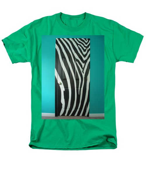 Zebra Stripe Mural - Door Number 1 Men's T-Shirt  (Regular Fit) by Sean Connolly