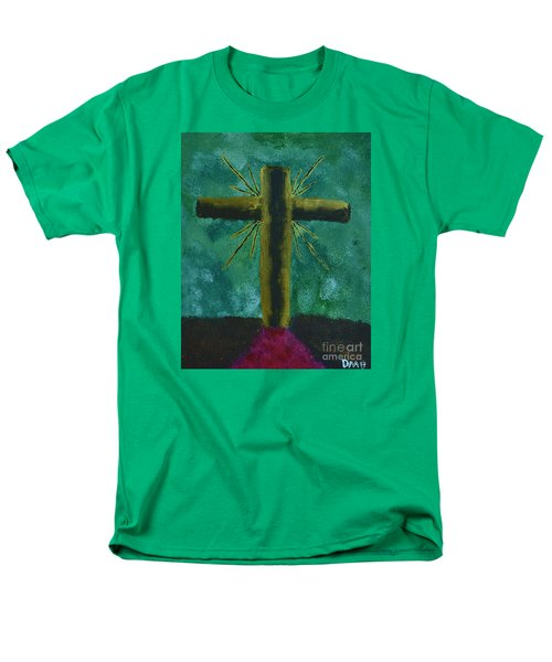 Men's T-Shirt  (Regular Fit) featuring the painting The Old Rugged Cross by Donna Brown