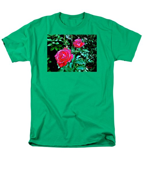 Men's T-Shirt  (Regular Fit) featuring the photograph 2 Red Roses by Sadie Reneau