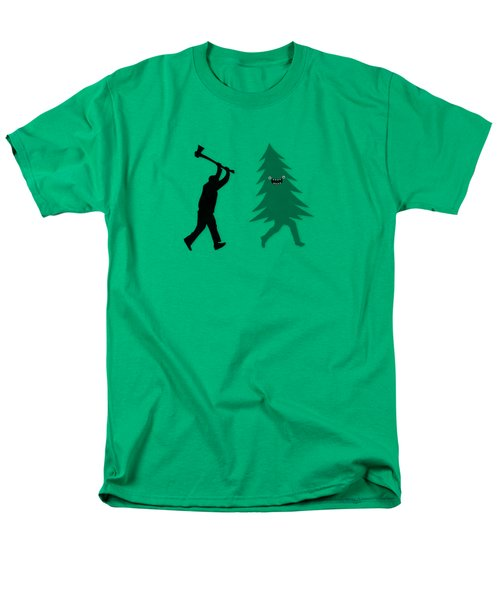Funny Cartoon Christmas Tree Is Chased By Lumberjack Run Forrest Run Men's T-Shirt  (Regular Fit) by Philipp Rietz