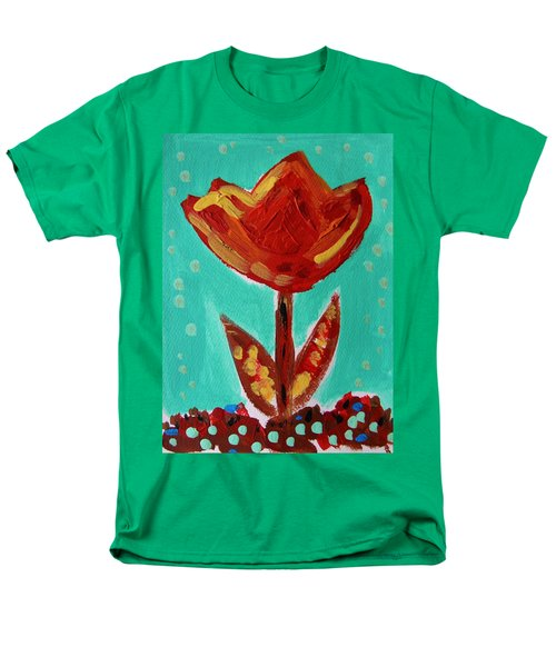 Men's T-Shirt  (Regular Fit) featuring the painting Avis-flowers From The Flower Patch by Mary Carol Williams
