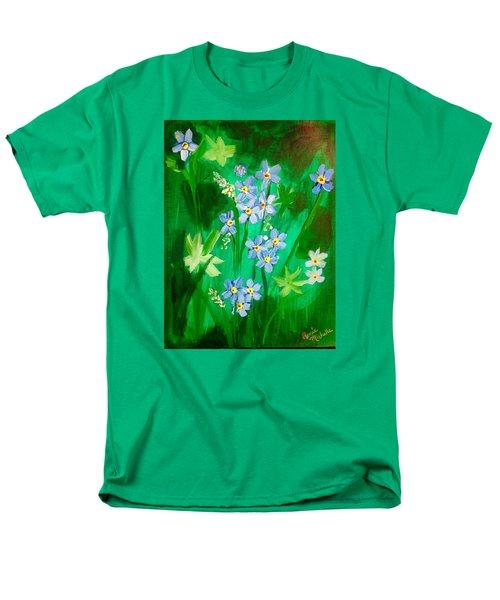 Blue Crocus Flowers Men's T-Shirt  (Regular Fit) by Renee Michelle Wenker
