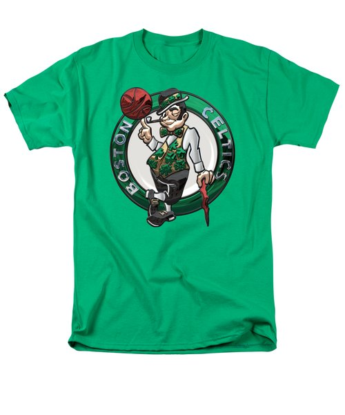 Boston Celtics - 3 D Badge Over Flag Men's T-Shirt  (Regular Fit) by Serge Averbukh