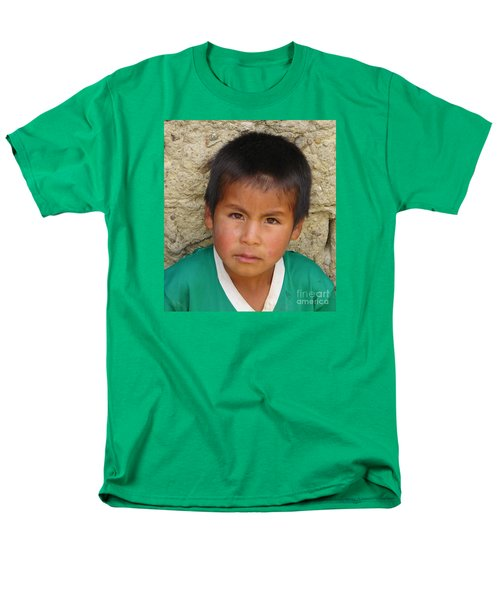 Brown Eyed Bolivian Boy Men's T-Shirt  (Regular Fit) by Lew Davis